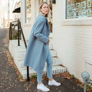 NWT Topshop Brooke Blue Double Breasted Coat